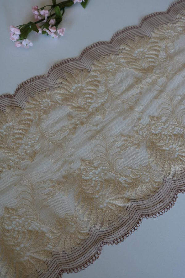 "Beige 8.5"" Wide Stretch Lace"