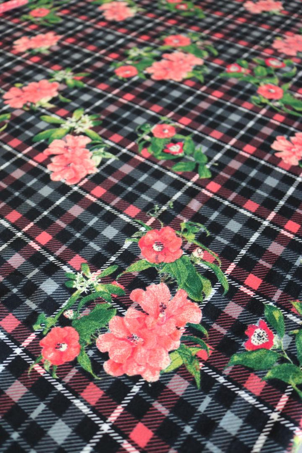 Savannah on Black/Coral Plaid Double Brushed Poly