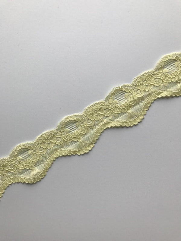 "Light Yellow 2"" Wide Stretch Lace"