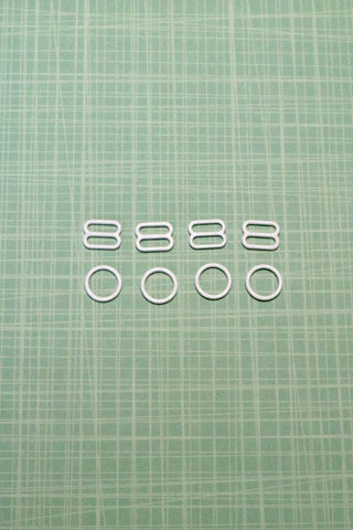 "2 Sets of White 3/8"" (11mm) Nylon Coated Bra Rings & Sliders"