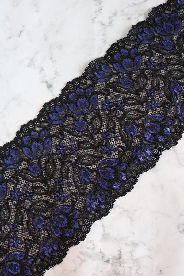 "Black & Purple 6.5"" Wide Stretch Lace"