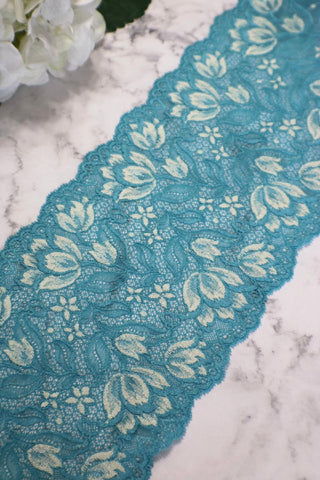 "Turquoise & Cream 6.5"" Wide Stretch Lace"