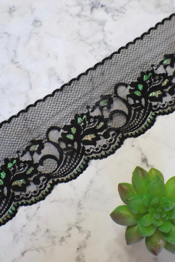 "Black Shimmer 4"" Wide Embroidered Tulle Lace Trim"