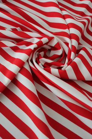"Red & White 1/2"" Stripe Nylon Spandex"
