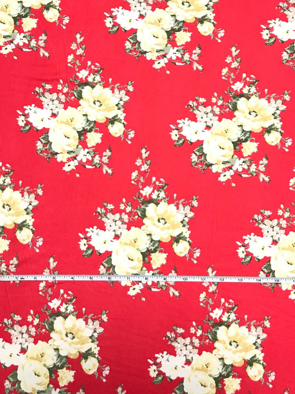 Kaia Floral on Poppy Double Brushed Poly