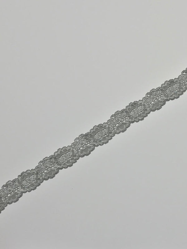 "Silver Gray 1.5"" Wide Stretch Lace"