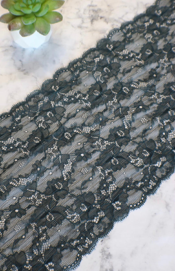 "Twilight Teal 8.5"" Wide Stretch Lace"