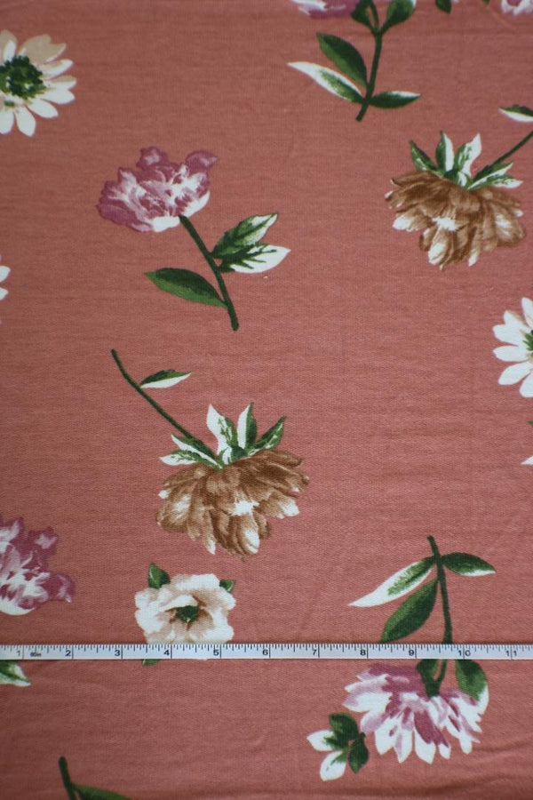 Daisy on Mauve Reverse French Terry