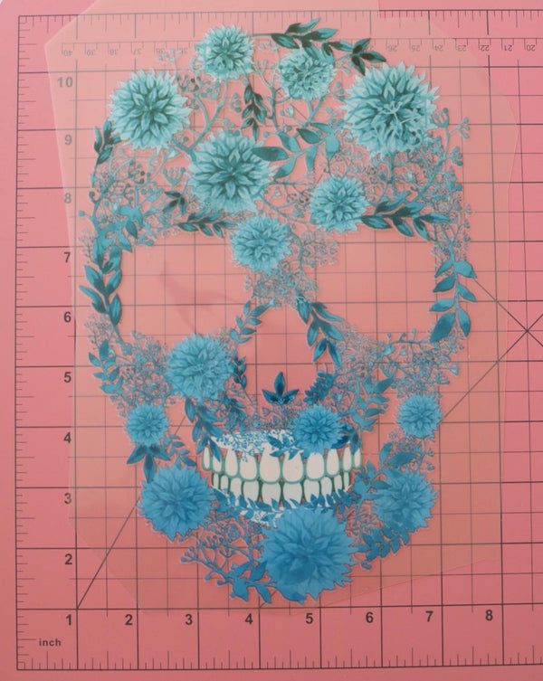 Blossoming Skull Heat Transfer, Iron-On