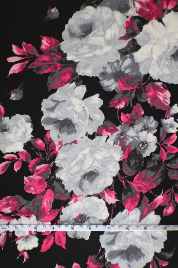 Fuchsia & Gray Floral on Black Wool Dobby