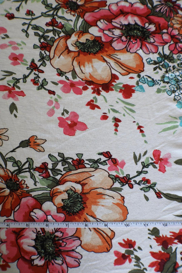 Wildflowers on Ivory Rayon Spandex
