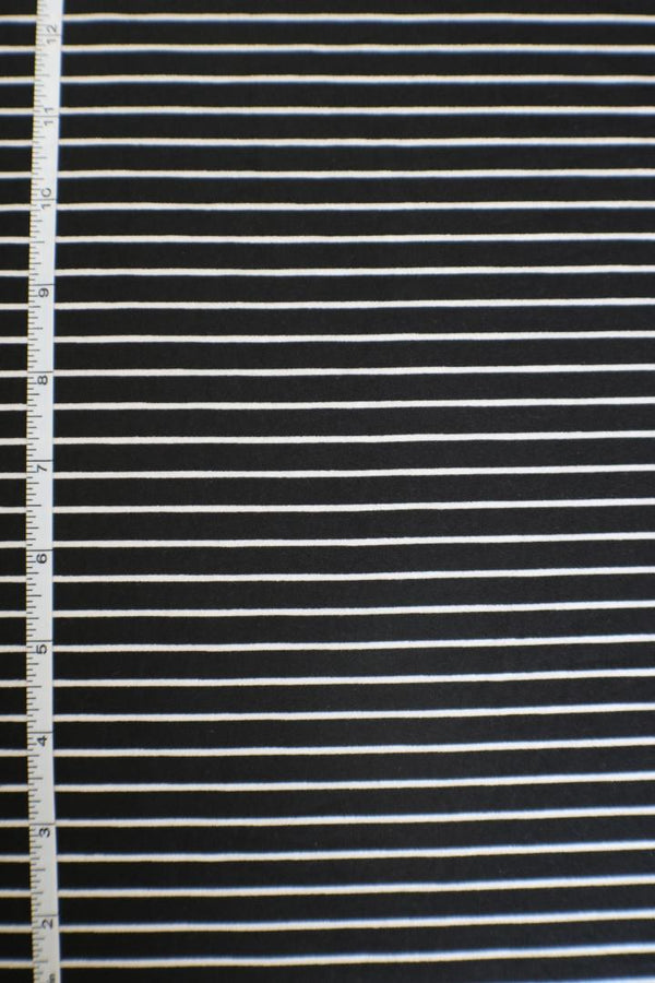 Black & White Stripe Double Brushed Poly
