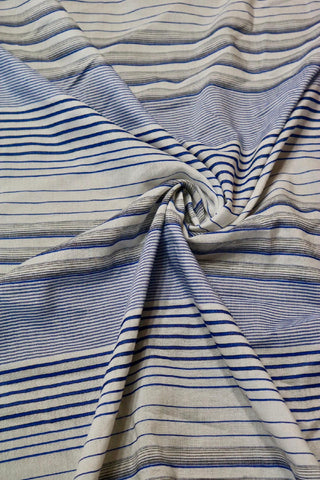 Blue & Ivory Viscose Stripe