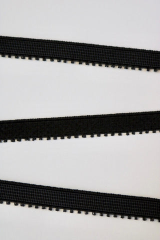 "Black 3/8"" (10mm) Plush Back Picot Elastic"
