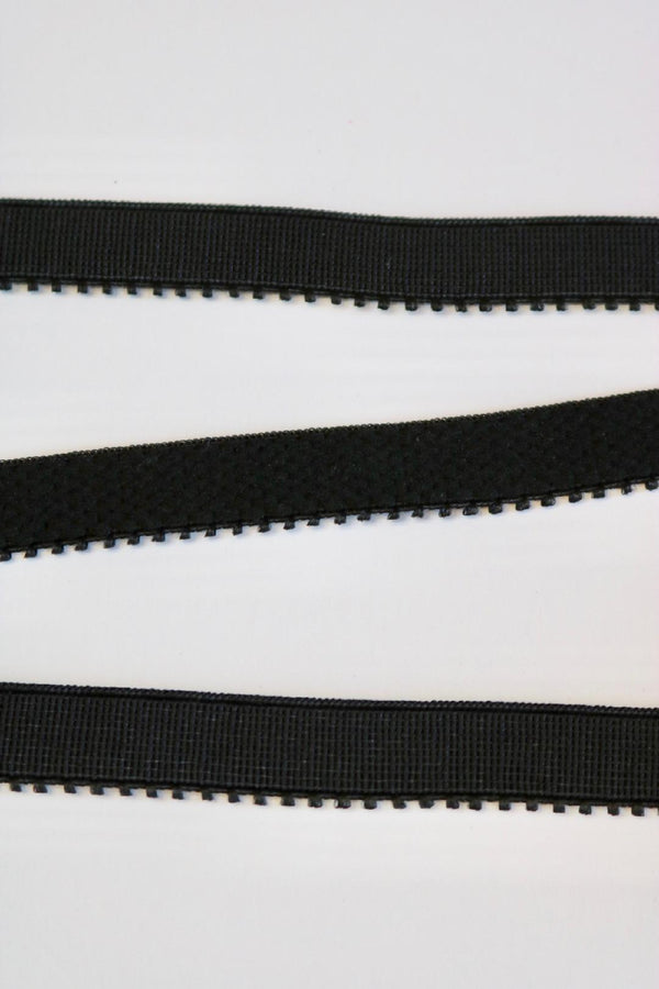 "Black 1/2"" (12mm) Plush Back Picot Elastic"