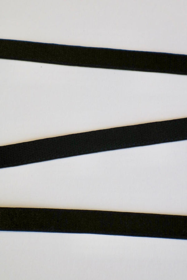 "Black 3/8"" (10mm) Plush Back Satin Strap Elastic"