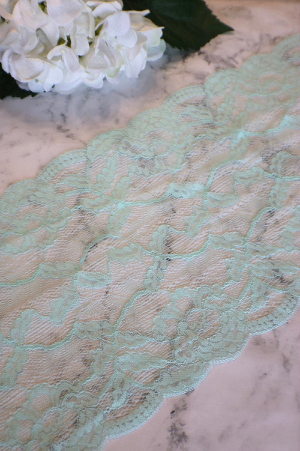 "Light Seafoam 8.75"" Wide Stretch Lace"