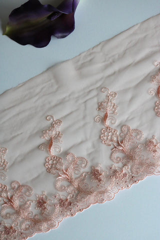 "Light Peach 8.75"" Wide Embroidered Lace Trim"