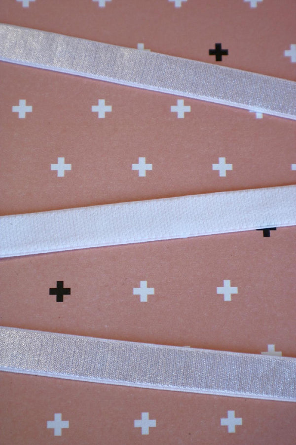 "White 1/2"" (12mm) Plush Back Satin Strap Elastic"