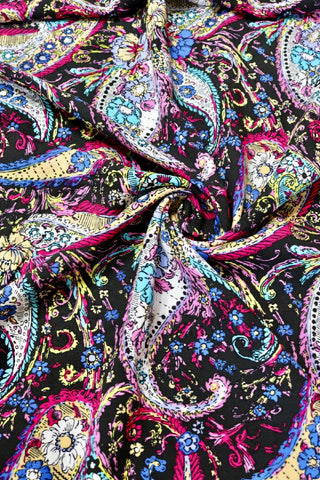 Fuchsia Paisley on Black Rayon Challis