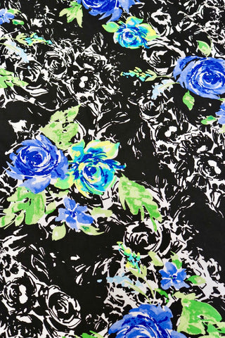 Royal Blue Roses Rayon Challis
