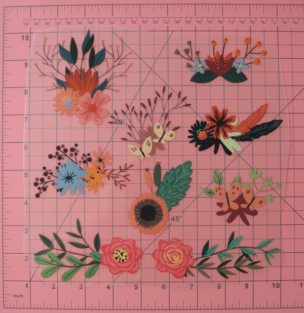 9 Floral Arrangements Heat Transfer, Iron-On