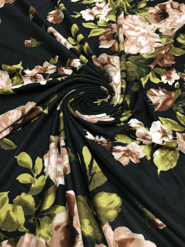 Mocha & Blush Floral on Black Double Brushed Poly
