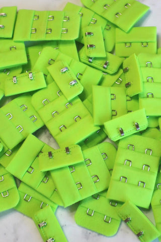 Lime Green Bra Hook & Eye Back Closure 3x2, 1.25""