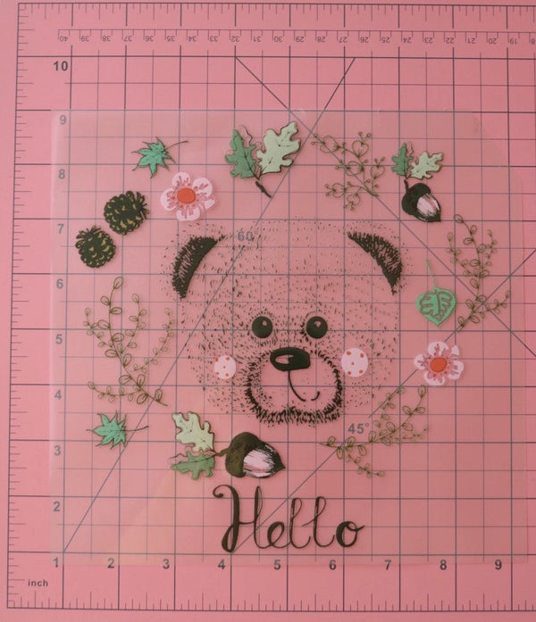 Large Hello Bear Heat Transfer, Iron-On