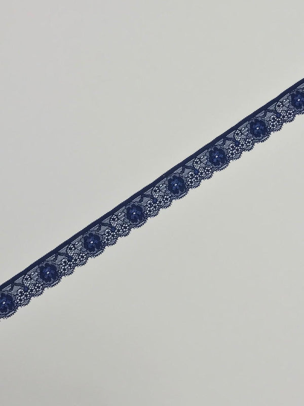 "Navy 1"" Wide Stretch Lace"