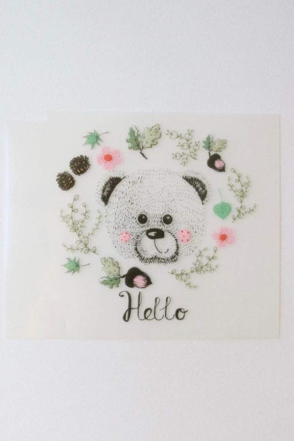 Small Hello Bear Heat Transfer, Iron-On