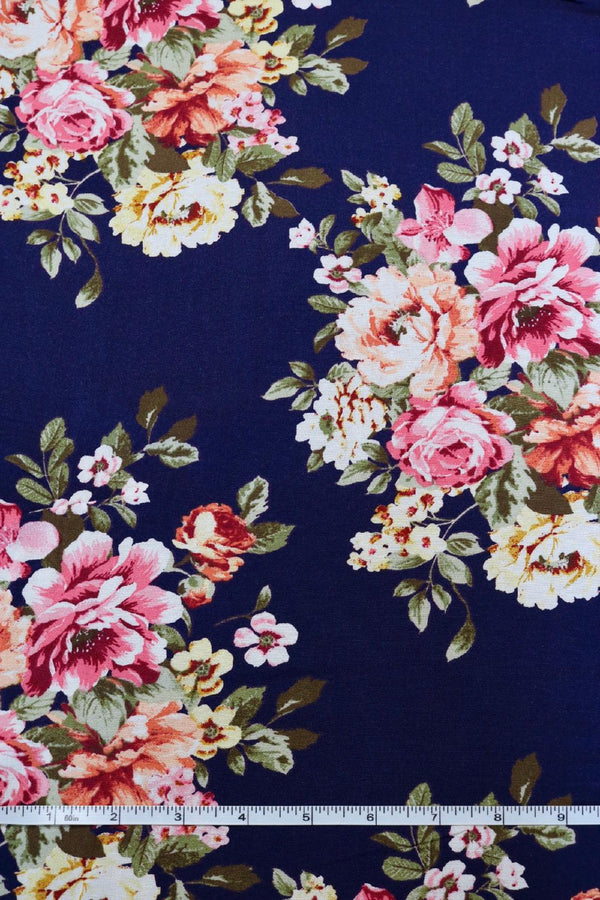 Floral Bouquet on Navy Rayon Challis