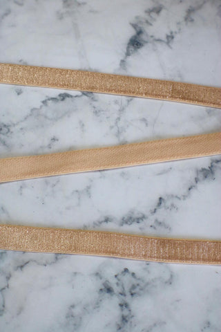 "Light Peach 1/2"" (12mm) Plush Back Satin Strap Elastic"