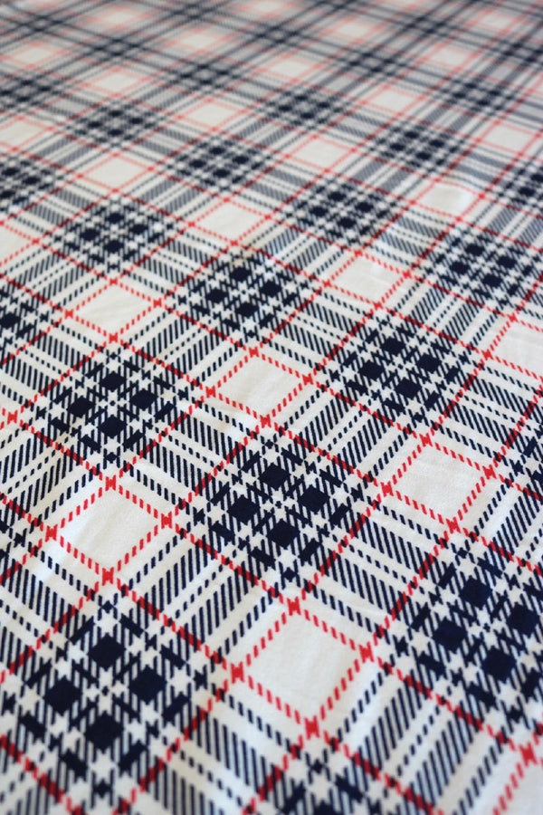 Navy/Red/Ivory Plaid on Double Brushed Poly