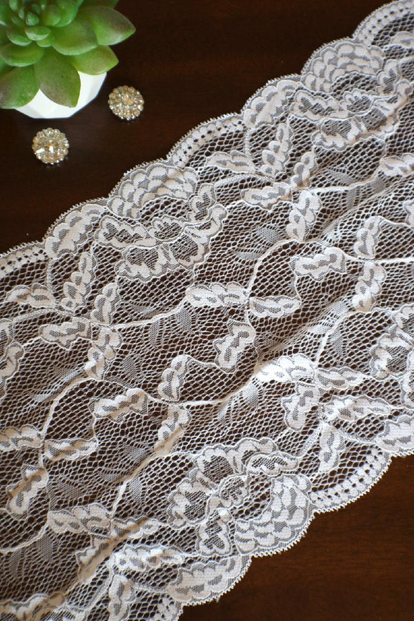 "White 8.75"" Wide Stretch Lace"
