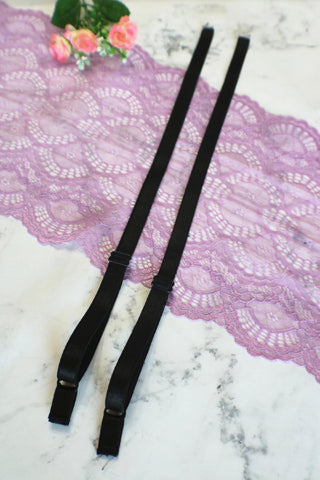 "Black 1/2"" (12mm) Plush Back Satin Straps PRE-MADE"