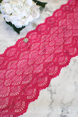 "Hot Pink 9"" Wide Stretch Lace"