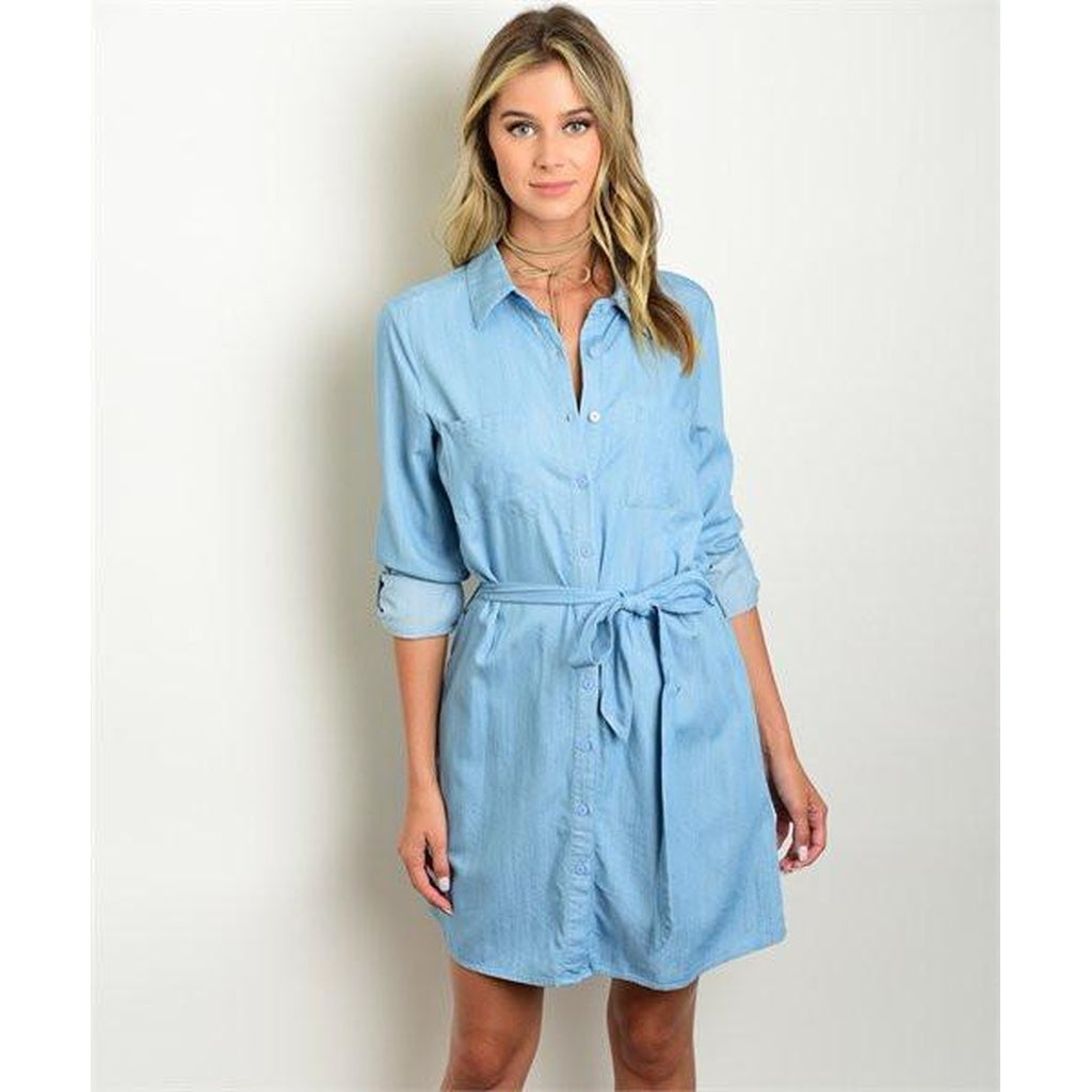 Women s long sleeve Denim Tunic Button Down Dress - Brand New Threads 7619bf6898