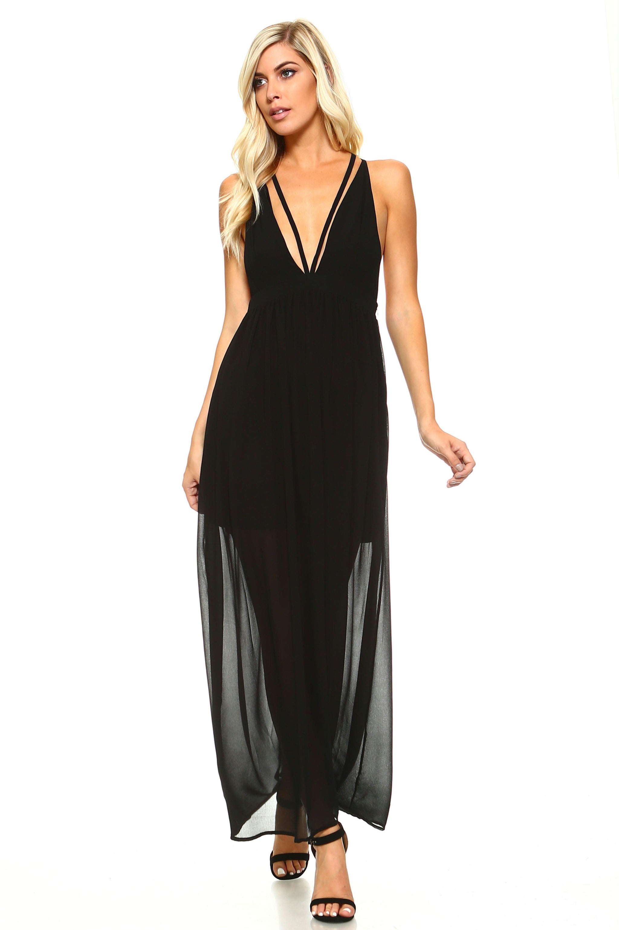 d34434691f2 Women s Black Sheer Maxi Dress with Deep V-Neck - Brand New Threads