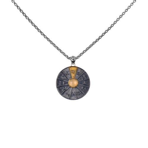 Zodiac Wheel Necklace Virgo Orange Moonstone 17