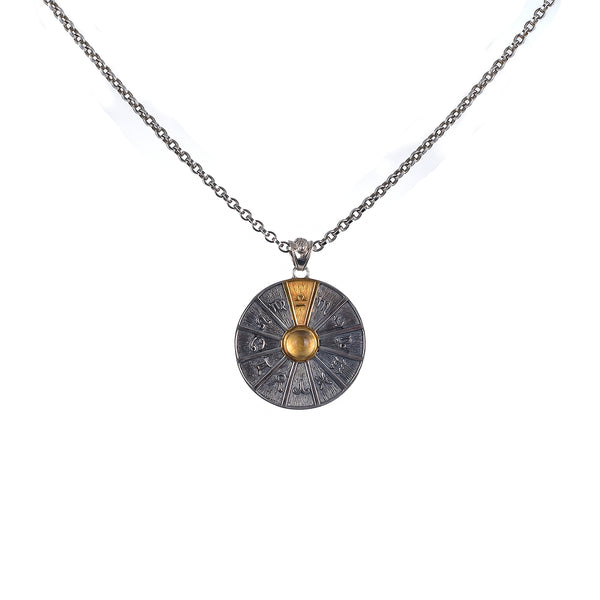 Zodiac Wheel Necklace Libra Citrine 17