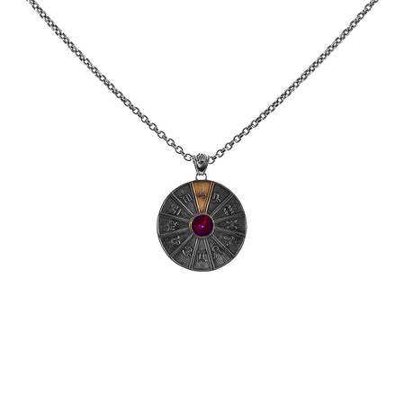 Zodiac Wheel Necklace Leo Carnelian 17
