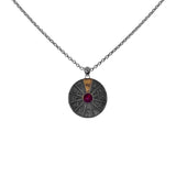 Zodiac Wheel Necklace Sagitarius Red Garnet 17