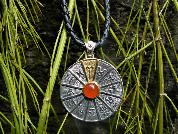 Zodiac Wheel Necklace Aries Carnelian 17