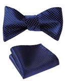 SetSense Men's Check Jacquard Wedding Party Self Bow Tie Pocket Square Set - Socksn'Ties