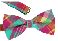 ST34 Multi-color Cotton Plaid New Adjustable Fashion Bow tie for men and for boys Dad Son SET - Socksn'Ties