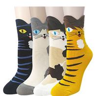 Pack of 4 Womens Cute Famous Painting Art Crew Socks, Funny and Cool 100% Cotton Socks for Women - Socksn'Ties