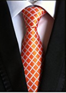 Welen orange Classic Men's 100% Silk Tie Necktie Woven JACQUARD Neck - Socksn'Ties