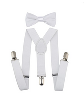 Bowtie Set color blanco- Adjustable Length 1 Inches Suspender with Bow Tie Set for Boys and Girls - Socksn'Ties