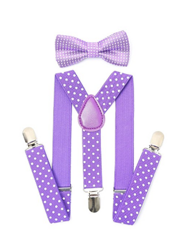 Bowtie Set color morado- Adjustable Length 1 Inches Suspender with Bow Tie Set for Boys and Girls by AWAYTR - Socksn'Ties